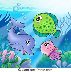 Cute marine animals - color illustration.