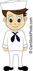 cute, marinheiro, em, uniforme
