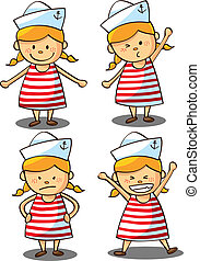 cute, marinheiro, menina