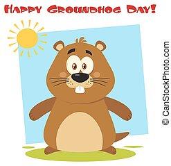 Cute Marmot Cartoon Character. Illustration Flat Design