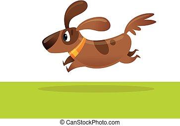 cute, marrom, animal estimação, cão, ilustração, caricatura, executando, vetorial, animado feliz