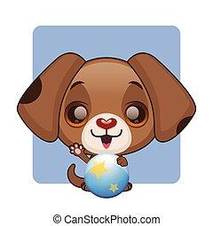 cute, marrom, filhote cachorro, com, um, bola