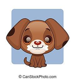 cute, marrom, filhote cachorro, com, um, osso