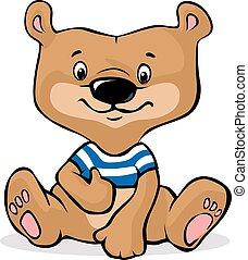 cute, marrom, sentando, -, ilustração, vetorial, urso