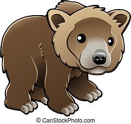 cute, marrom, urso pardo, vetorial, ilustração