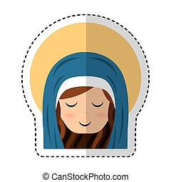 cute mary virgin icon vector illustration design