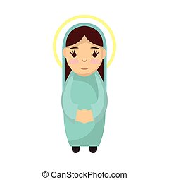 cute mary virgin manger character vector illustration design