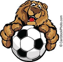 cute, mascote, futebol, urso, feliz