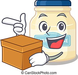 Cute mayonnaise cartoon character having a box