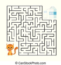 Cute maze game for kids education. Cartoon gienger stripped cat and milk package with glass.