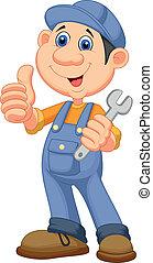 Cute mechanic cartoon holding wrenc - Vector illustration of...