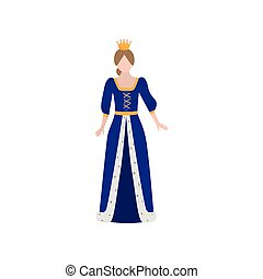 Cute medieval princess with gold crown and long blue dress