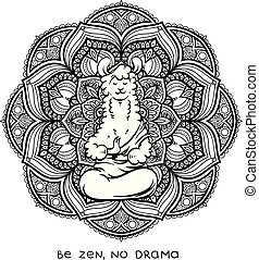 Cute meditating furry llama. Vector cartoon illustration on a white background with motivational lettering.
