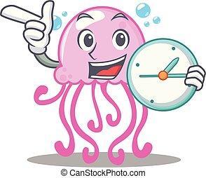 cute, medusa, personagem, caricatura, relógio