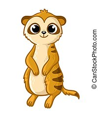 Cute meerkat, on a white background in cartoon style. Vector illustration with an animal.