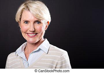 cute, meio envelheceu, retrato mulher
