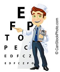 Cute men doctor - ophthalmologist points to the table for testing visual acuity