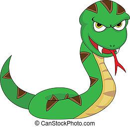 Cute Menacing Looking Snake - Vector Illustration of A Cute...
