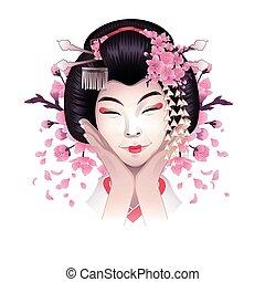cute, menina asiática