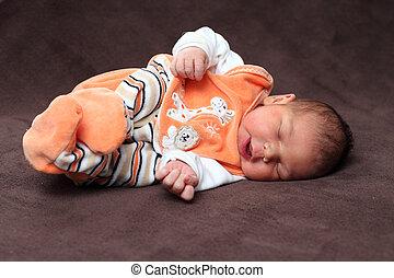 cute, menina bebê, cama