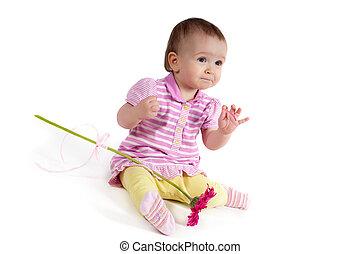 cute, menina bebê, em, cor-de-rosa