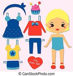 cute, menina, boneca papel, para, kids., vista rigor, a, boneca, jogo