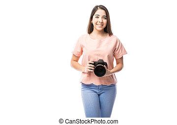 cute, menina, com, um, profissional, câmera