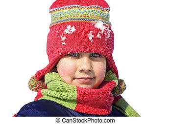 cute, menina, em, um, nevado, dia