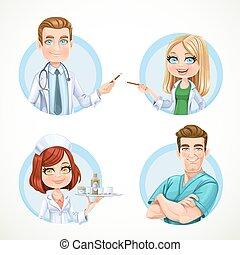 cute, menina, enfermeira, em, branca, médico, agasalho, com, um, bandeja, com, um, vidro, de, pílulas, ficar, ligado, um, fundo branco, [????????????]