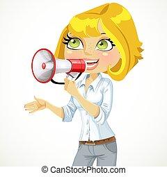 cute, menina, fala, em, um, megafone, isolado, branco, fundo