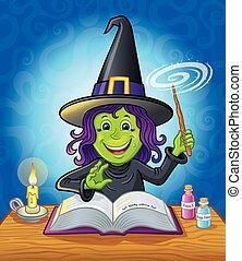 cute, menina, feiticeira, lançando, um, feitiço