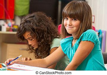 cute, menina, home., schoolwork