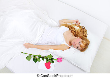 cute, menina, jovem, cama, dormir