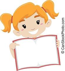 cute, menina, mostrando, vazio, página, livro