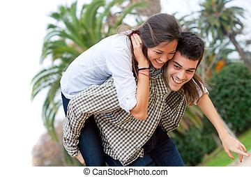 cute, menina, piggybacking, boyfriend.