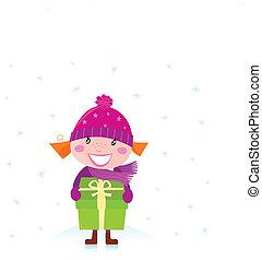 cute, menina, presente natal