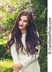 cute, menina sorridente, outdoors., modelo moda, mulher, em, branca, vestido verão