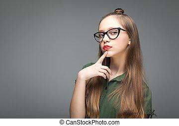 cute, menina, spectacled