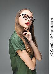 cute, menina, spectacled, jovem