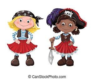 cute, menina, vetorial, pirata, ilustração