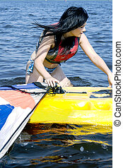 cute, menina, windsurfing