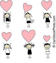 cute, meninas, valentine, desenho, corações, seu
