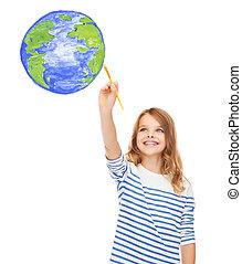 cute, menininha, desenho, com, escova, terra planeta