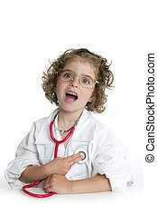 cute, menininha, fingir, para, ser, um, doutor
