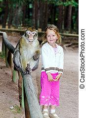 cute, menininha, macaco