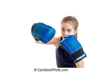 cute, menininha, prática, boxe, em, azul, luvas