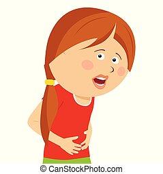 cute, menininha, stamach, isolado, tendo, fundo, dor, branca, sobre