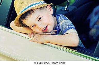 cute, menino, aborrecido, carro