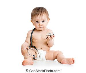 cute, menino bebê, com, estetoscópio, em, mãos