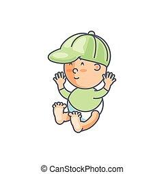 cute, menino, boné, personagem, avatar, bebê